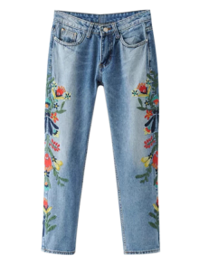 Embroidered Flower Tapered Jeans - Light Blue