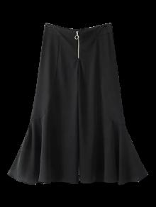 Ruffle Wide Leg Capri Pants - Black