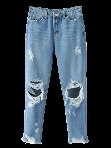 Raídos Pantalones Vaqueros Cónicos - Azul Claro
