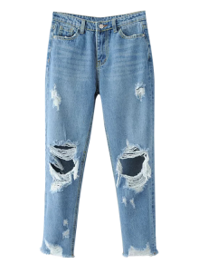 Frayed Ripped Tapered Jeans - Light Blue