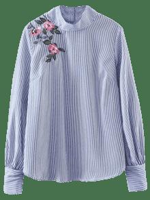 Pull Rayé Chemise à Fleurs - Rayure S