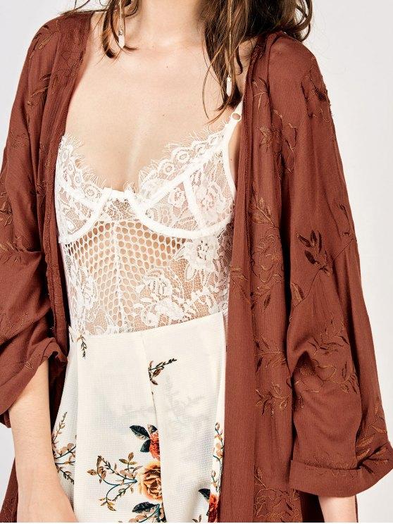 Embroidered Open Front Kimono Dust Coat - BRICK-RED L Mobile