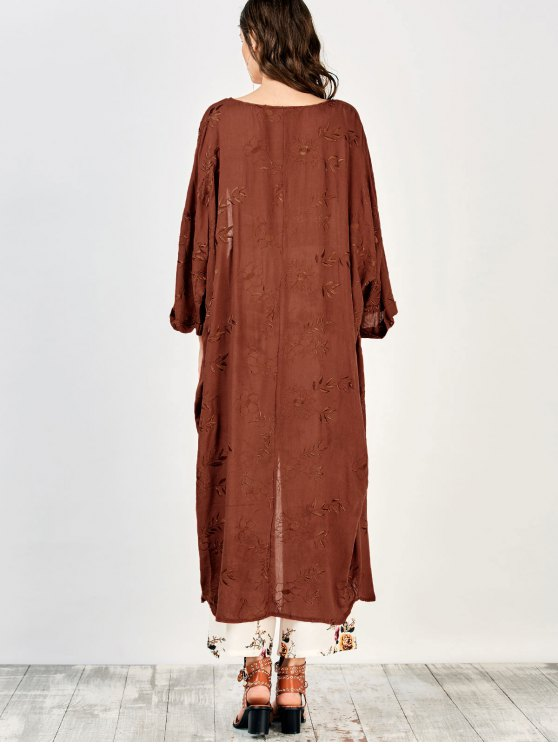 Embroidered Open Front Kimono Dust Coat - BRICK-RED M Mobile