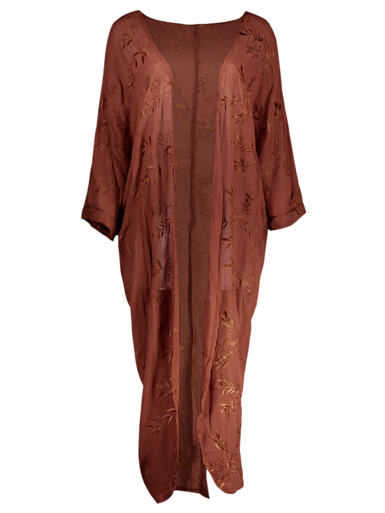 Embroidered Open Front Kimono Dust Coat - BRICK-RED S Mobile