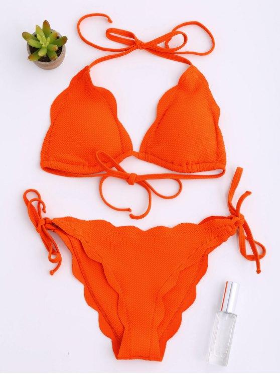 Halter festoneado Hem Cadena Conjunto de bikini - rojo, naranja, M