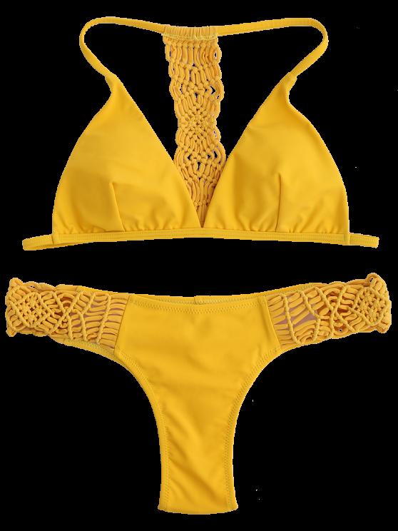T Back Braided Bikini Set - YELLOW S Mobile