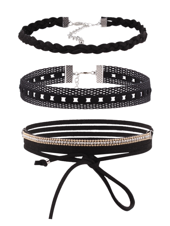 Rhinestone Faux Leather Velvet Choker Set - BLACK  Mobile