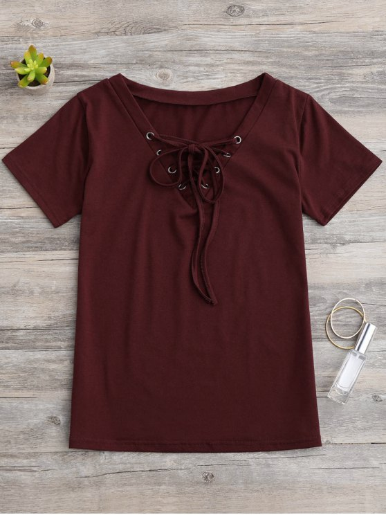 outfits Lace Up Layering T-Shirt - WINE RED M