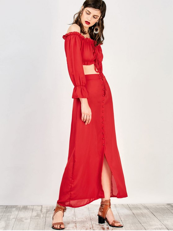 Off The Shoulder Crop Top and Maxi Skirt - RED S Mobile