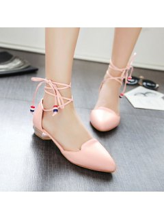Pointed Toe Tie Up Flat Shoes - Pink 37