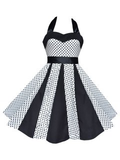 Vintage Halter Polka Dot Swing Dress - White M