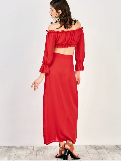 womens Off The Shoulder Crop Top and Maxi Skirt - RED L Mobile