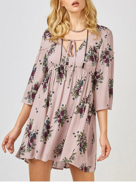 fancy Floral Print Smock Babydoll Dress - PINK S Mobile