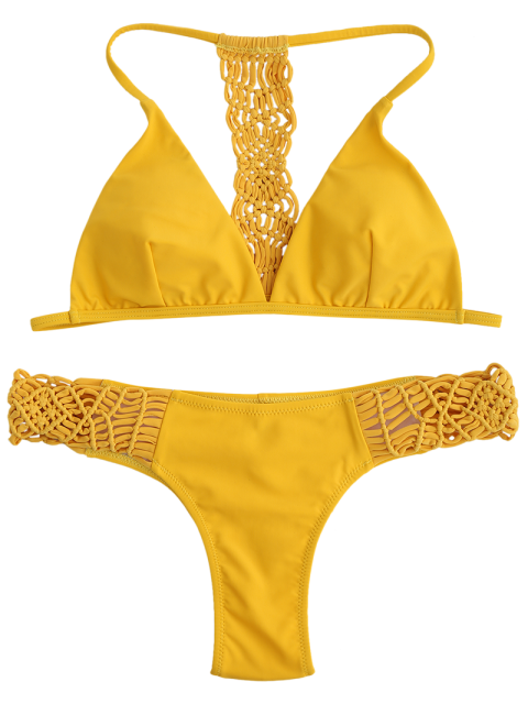 women's T Back Braided Bikini Set - YELLOW S Mobile