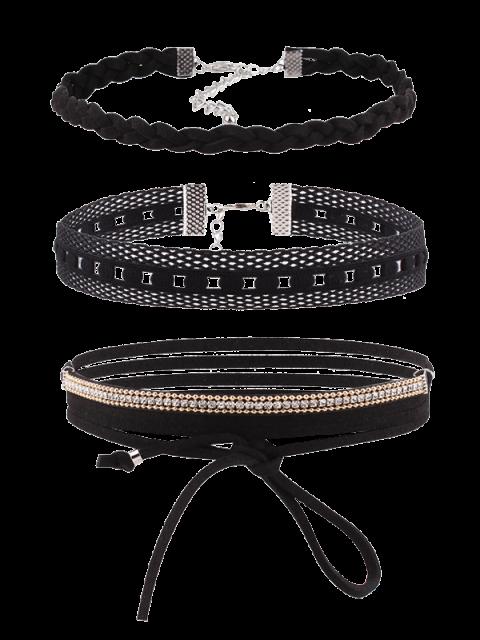 new Rhinestone Faux Leather Velvet Choker Set - BLACK  Mobile