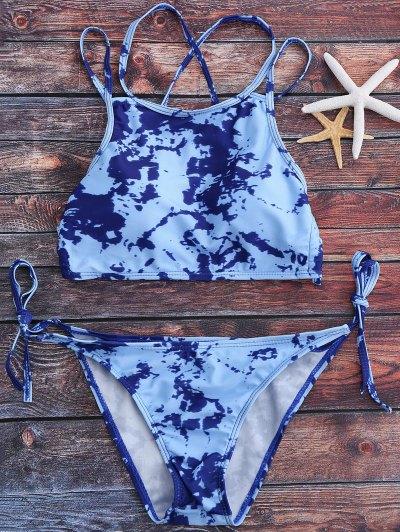 Tie Dye High Neck Tie Side Bikini Set - Light Blue