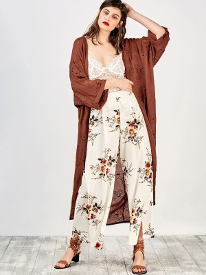 Embroidered Open Front Kimono Dust Coat - Brick-red