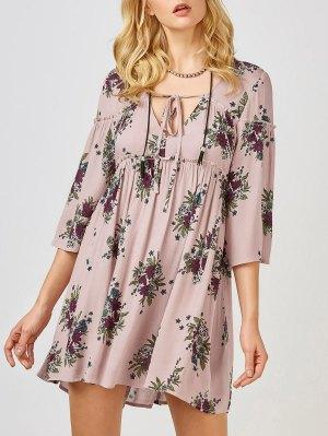 Floral Print Smock Babydoll Dress - Pink