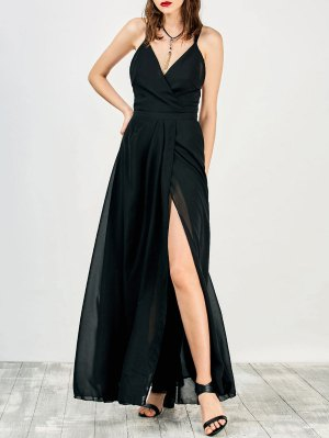 High Slit Criss-Cross Maxi Dress - Black