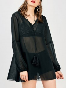 Long Sleeve Flowy Beach Coverup Dress