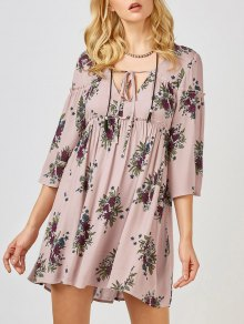 Floral Print Smock Babydoll Dress