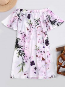 Off The Shoulder Flower Vintage Dress - White