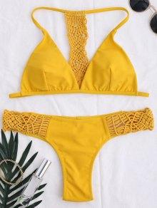 T Retour Tressé Bikini - Jaune