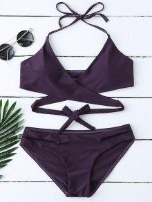 Padded Halter Wrap Bikini Set - Deep Purple M