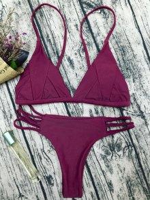 Traje De Bikini De Tirantes Finos Con Relleno - Rojo Purpúreo L