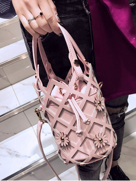 Flowers Cut Out Bucket Handbag - PINK  Mobile