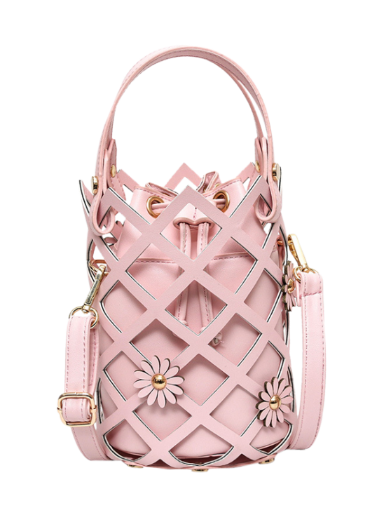 new Flowers Cut Out Bucket Handbag - PINK