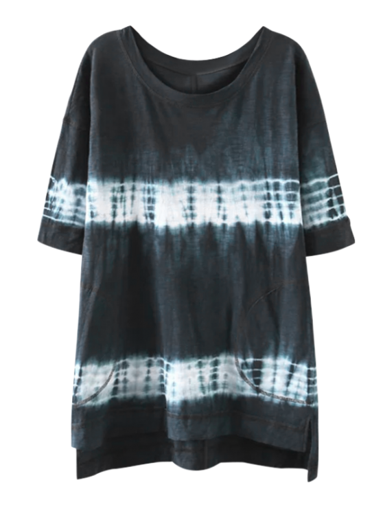 fancy High Low Tie Dye Stripe T-Shirt Dress - PURPLISH BLUE S