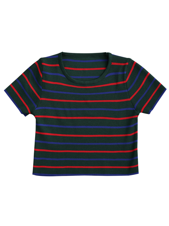 Knitting Stripes Cropped Top - GREEN ONE SIZE Mobile