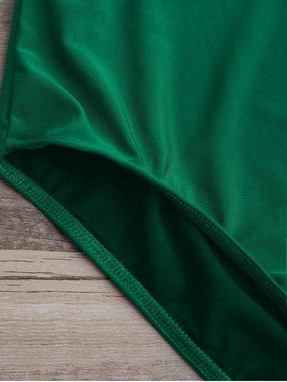 Plunge Thong One-Piece Swimwear - GREEN M Mobile