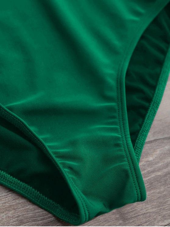 Plunge Thong One-Piece Swimwear - GREEN XL Mobile