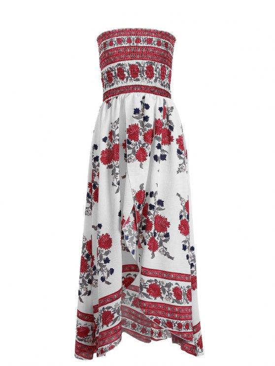 Vestido tubo floral de hendidura frontal de Smocked - Blanco M