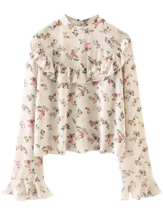 womens Chiffon Floral Print Frilly Blouse - PINK S