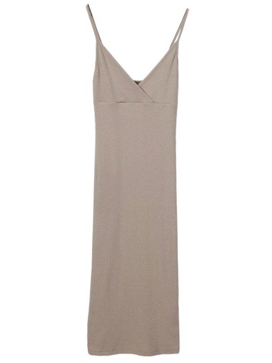 shop Slip Surplice Slinky Tank Dress - LIGHT KHAKI S