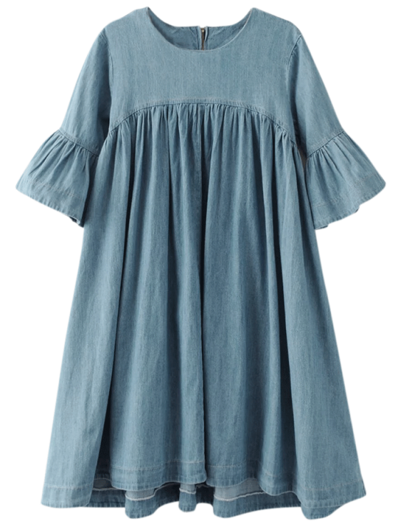 shops Denim Babydoll Dress - BLUE S