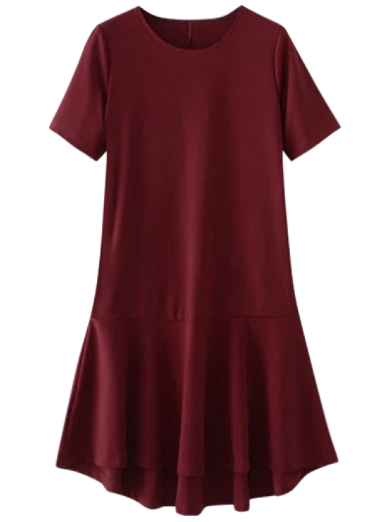 ladies Ruffle Hem High Low Dress - RED M