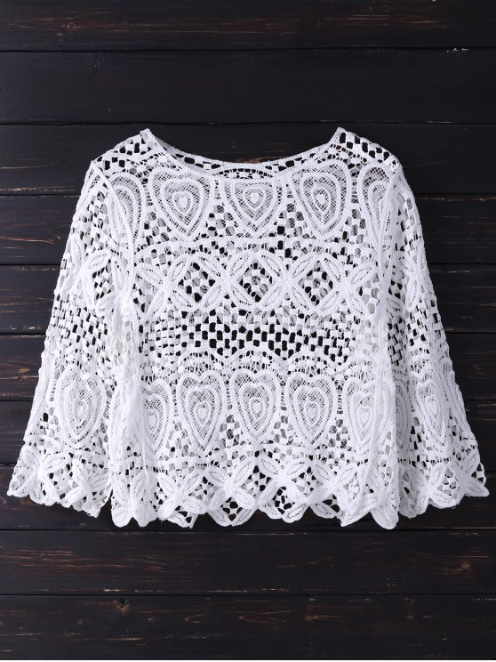 unique Crochet Laser Cut Top - WHITE ONE SIZE