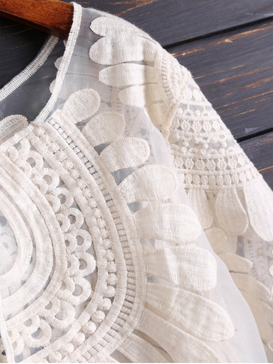 Embroidered Open Front See Through Top - OFF-WHITE ONE SIZE Mobile