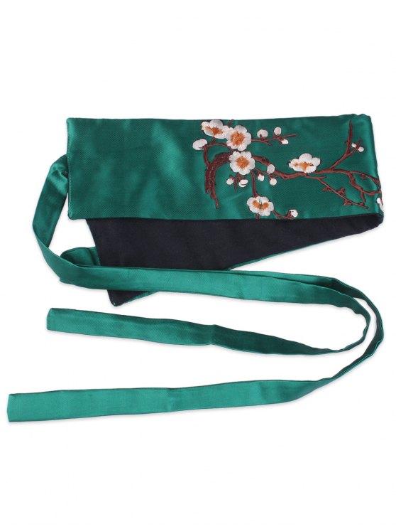 Wintersweet Blossom Embroidery Kimono Bowknot Waistbelt - GREEN  Mobile