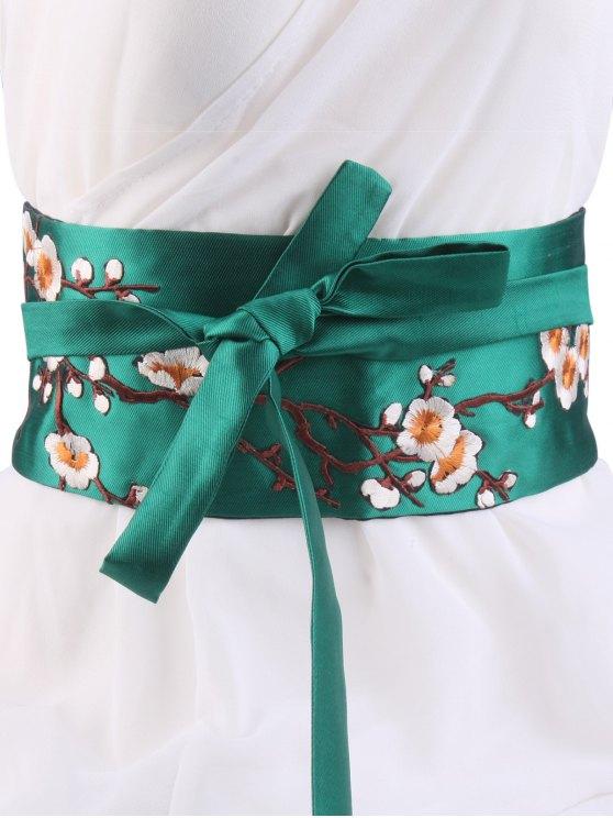 Wintersweet flor del bordado del kimono del Bowknot Waistbelt - Verde