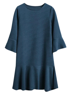 Flounce Trim Drop Waist Jacquard Dress - Deep Blue S