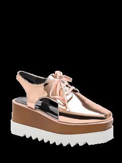 Square Toe Slingback Tie Up Platform Shoes - Champagne 38