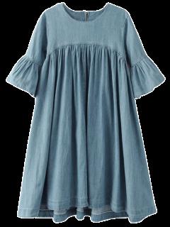 Denim Babydoll Dress - Blue S