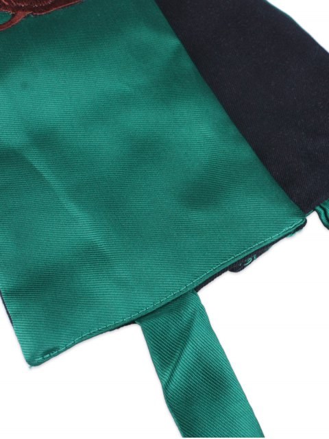 hot Wintersweet Blossom Embroidery Kimono Bowknot Waistbelt - GREEN  Mobile
