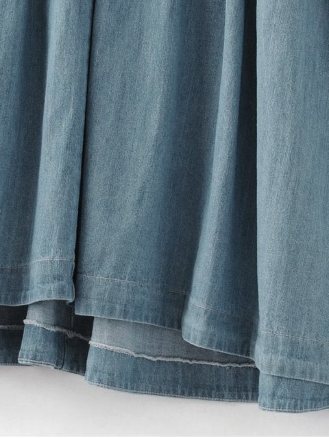 shop Denim Babydoll Dress - BLUE M Mobile