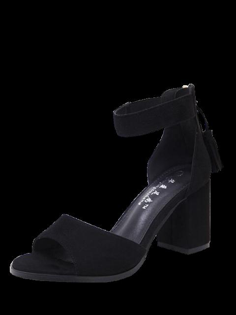 new Zipper Chunky Heel Tassels Sandals - BLACK 38 Mobile